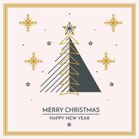 Lineaire Merry Christmas en gelukkig nieuwjaarskaart vector