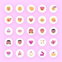 valentine emoji vector set