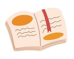 open boek met een bladwijzer. conceptontwerp voor kinderen onderwijs. liefde voor kennis en lezen. boekenfestival. platte vectorillustratie vector