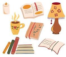 ingesteld voor gezellig lezen. diverse papieren boeken, kaarsen, tafellamp een kopje met een warme drank. boekenliefhebber, boeken, lezersconcept. blijf kalm en lees boeken. platte vectorillustratie. vector