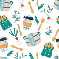 naadloos patroon met milieuvriendelijke keuken. lunchbox, houten bestek, hervulbare mok. ga groen, geen plastic. keuken zonder afval. accessoires textiel, inpakpapier, behang. vector achtergrond