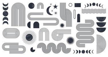 abstracte boho esthetische geometrische vorm bezet met maanstanden vector