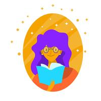Flat Character Girl Bookworm Vector Illustratie