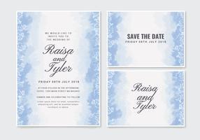 Vector blauwe bruiloft uitnodiging
