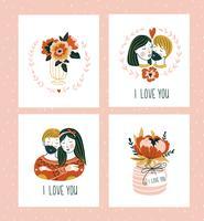 Vector illustratie. Valentijnsdag wenskaarten sjablonen met liefde belettering.