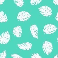 Naadloos hand getrokken tropisch patroon. Vector herhaal achtergrond met monsterabladeren.