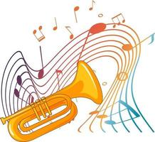 trompet muziekinstrument met melodiesymbolen vector