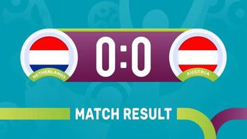 nederland oostenrijk wedstrijdresultaat, europees voetbalkampioenschap 2020 vectorillustratie. voetbal 2020 kampioenschapswedstrijd versus teams intro sport achtergrond vector