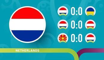 nederlands elftal speelschema wedstrijden in de laatste fase van het voetbalkampioenschap 2020. vectorillustratie van voetbal 2020-wedstrijden vector