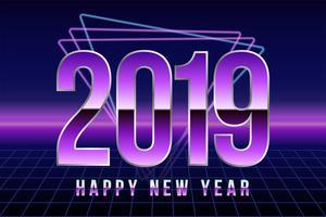Gelukkig nieuw 2019 jaar. Vectotillustratie in retro discostijl. Wenskaart, poster of banner ontwerpsjabloon vector