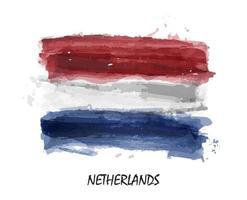 realistische aquarel vlag van nederland. vector. vector