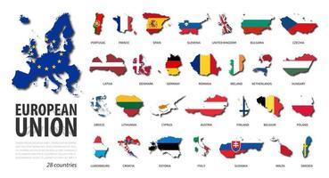 Europeese Unie . EU . set platte ontwerp landkaart en nationale vlag van lid met schaduw. witte geïsoleerde achtergrond. vector. vector