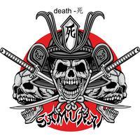 samurai schedel teken vector