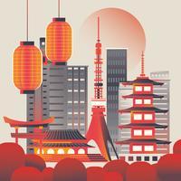 Illustratie van de stadshorizon van Tokyo bij zonsopgang