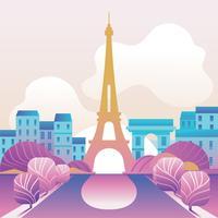 Illustratie met de Eiffeltoren in Parijs