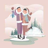 Romantische gelukkige paar Eskimo vector