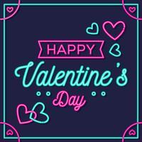 Gelukkige Valentijnsdag Neon stijl Vector