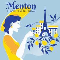 Dame Frans Grijp de Citroen voor het Citroenfestival in Menton vector