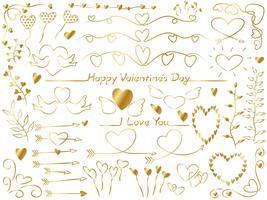 Set van diverse grafische elementen voor Valentijnsdag