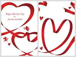 Set van twee Valentijnsdag kaartsjablonen.