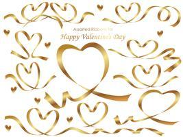 Set van gouden linten gerangschikt in hart vormen.