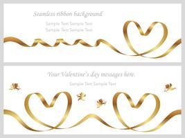 Set van twee Valentijnsdag kaarten met naadloze gouden linten.