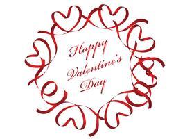 Valentijnsdag rode cirkelframe bestaat uit linten.