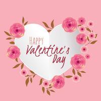 Mooi bloemenboeket met hart Frame voor Valentijnsdag