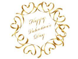 Valentijnsdag gouden cirkelframe samengesteld uit linten.