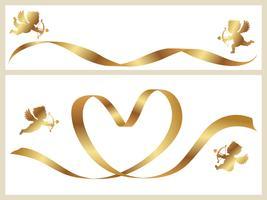 Set van twee Valentine-kaartsjablonen met gouden linten en cupido's.