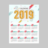 2019 Afdrukbare kalendervector vector