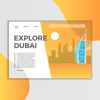 Vlakke Dubai Burj Al Arab Jumeirah Landing Page Vector Illustration