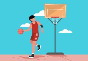 Basketbalspeler dribbelen