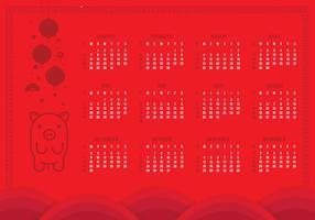 2019 Afdrukbare Chinese nieuwjaarskalender vector