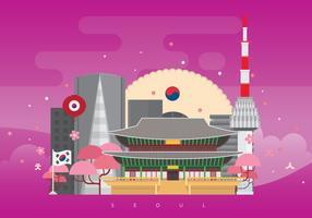 De Horizon van de Stad van Seoel Korea met Beroemde Gebouwen