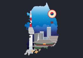 De stadshorizon van Seoel met beroemde gebouwen in de winter binnen de kaart van Korea