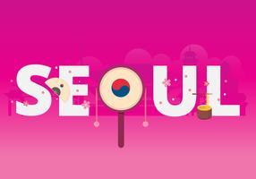 Seoul Korea stad typografie met beroemde gebouwen als achtergrond