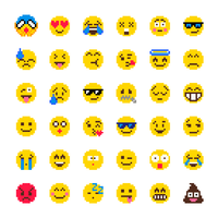 pixel emoji vector set