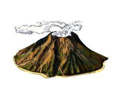 vulkaan van een scheutje aquarel, gekleurde tekening, realistisch. vectorillustratie van verf vector