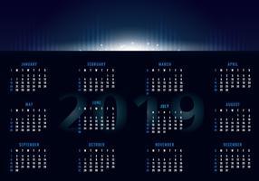 2019 Afdrukbare kalender vector