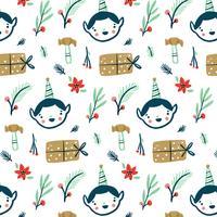 Patroon met kerstelf, cadeau, hamer en poinsettia.