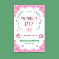 Valentine's Fyer sjabloon met roze rozen, bladeren en harten