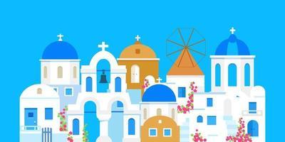 santorini. Griekenland. gebouwen van traditionele architectuur. traditionele Griekse witte huizen met blauwe daken, kerken en een molen. platte vectorillustratie vector