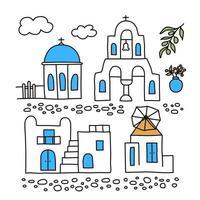 santorini. Griekenland. gebouwen van traditionele architectuur. traditionele Griekse witte huizen met blauwe daken, kerken, molens en bloemen. doodle stijl. vectorillustratie geïsoleerd op een witte achtergrond. vector