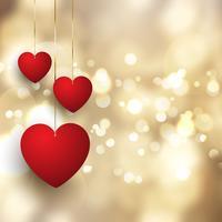 Valentijnsdag achtergrond met hangende harten op bokeh lichten ontwerp vector