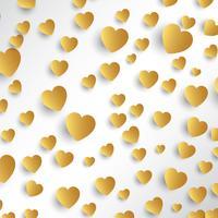 Gouden harten achtergrond vector