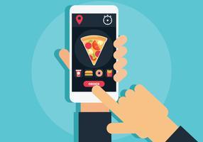 Online voedsel bestellen vectorillustratie