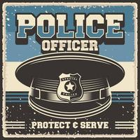 retro vintage illustratie van politieagent cap geschikt voor houten poster of bewegwijzering vector