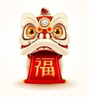 Chinese New Year Lion Dance Head with scroll vector