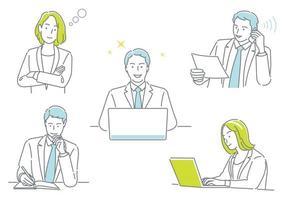zakenman en zakenvrouw die in hun kantoor werken en verschillende emoties uitdrukken, geïsoleerd op een witte achtergrond set vector